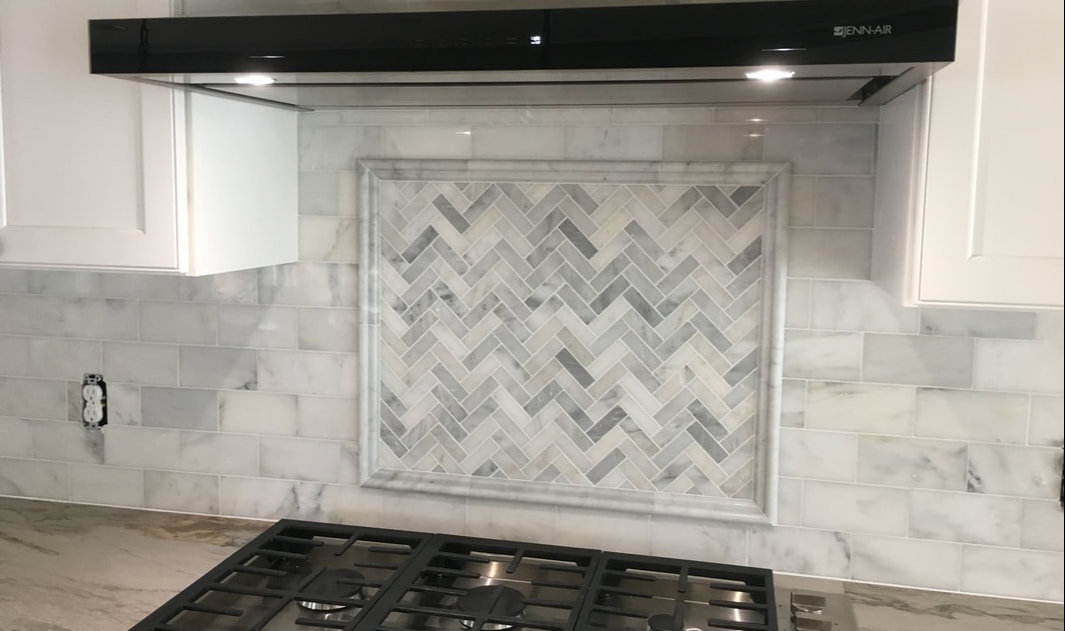 Herringbone Backsplash - Davie Mac Tile